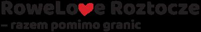 logo projektu z napisem rowelove roztocze razem pomimo granic, napis czarny w środku czerwone serce
