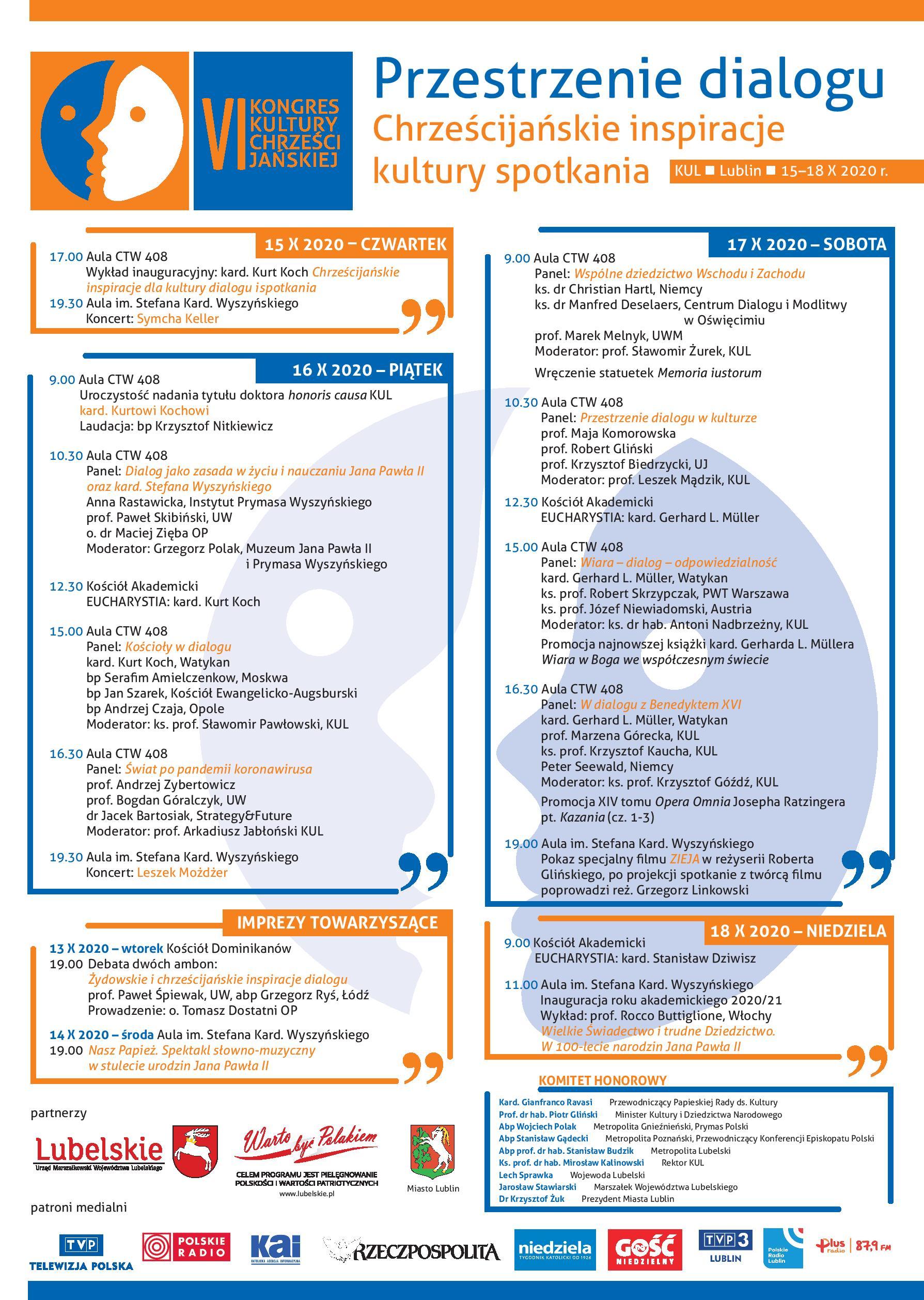 Plakat VI Kongresu Kultury Chrześcijańskiej przedstawiający plan wydarzeń